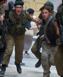 Film Still from World War Z Brad Pitt Protecting Segen From Google Images