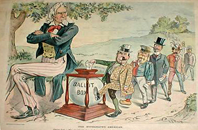 From Wikipedia:  Cartoon from Puck, August 9, 1899. Uncle Sam sees hyphenated voters and asks,