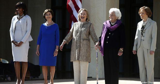 Barack Obama, Michelle Obama, George W. Bush, Laura Bush, Bill Clinton, Hillary Rodham Clinton, George H.W. Bush, Barbara Bush, Jimmy Carter, Rosalynn Carter
